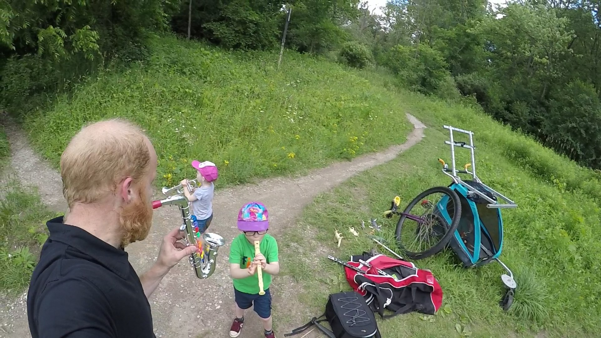 unicycle stroller in the woods
