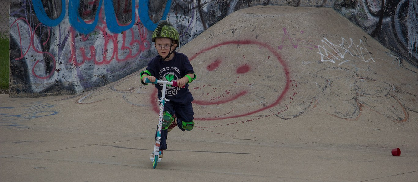 painted smile and a skatepark